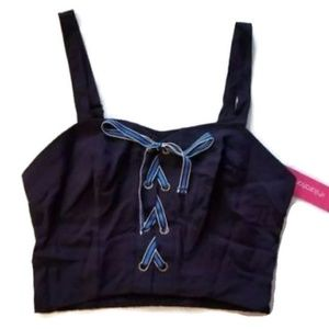 NWT Xhilaration Lace up Navy Crop Top